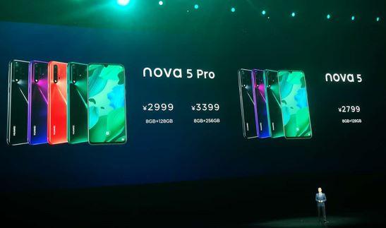 华为发布nova5系列新品:4800万像素AI四摄 2799元起